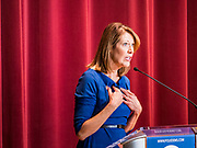 26 OCTOBER 2019 - DES MOINES, IOWA: Congresswoman CINDY AXNE (D-IA) speaks to Iowa Democrats before Congrewoman Nancy Pelosi (D-CA) was introduced at Drake Univserity. Speaker Pelosi talked about her experiences as Speaker of the House after the Democrats took back the House of Representatives in the 2018 midterm elections.     PHOTO BY JACK KURTZ