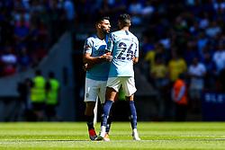Sergio Aguero greets Riyad Mahrez of Manchester City  - Rogan/JMP - 05/08/2018 - FOOTBALL - Wembley Stadium - London, England - Chelsea v Manchester City - The FA Community Shield.