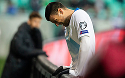 Haris Vuckic  of Slovenia reacts during the 2020 UEFA European Championships group G qualifying match between Slovenia and Latvia at SRC Stozice on November 19, 2019 in Ljubljana, Slovenia. Photo by Vid Ponikvar / Sportida