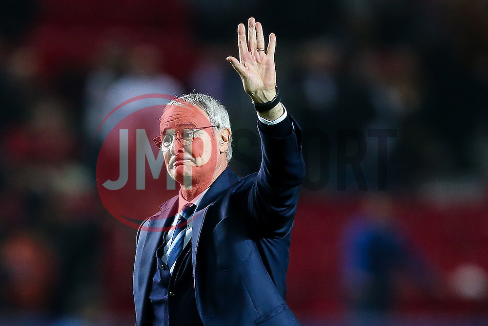 Leicester City manager Claudio Ranieri waves to the away fans after a 2-1 loss - Rogan Thomson/JMP - 22/02/2017 - FOOTBALL - Estadio Ramon Sanchez Pizjuan - Seville, Spain - Sevilla FC v Leicester City - UEFA Champions League Round of 16, 1st Leg.