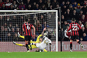 Alan Sheehan (44) of Luton Town misses his penalty as he hits the bar during the The FA Cup match between Bournemouth and Luton Town at the Vitality Stadium, Bournemouth, England on 4 January 2020.
