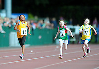 20 Aug 2016: l-r;  Sarah O'Leary, Leitrim, Mirabel Emenike, Clare, Avadh Gaughan, Mayo, and Alisha O'Dowd, Roscommon, in the Girls U10 100m heats.   2016 Community Games National Festival.  Athlone Institute of Technology, Athlone, Co. Westmeath. Picture: Caroline Quinn