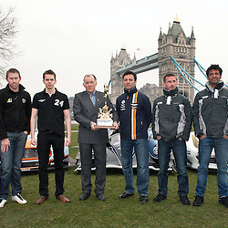 The Aston Martin, Strakka LMP1 and the RAM Racing Ferrari with Stephane Sarrazin, Darren Turner, Jonny Kane, Nick Leventis, John Martin and Alex Brundle with Ben Cussons holding the Championship trophy with Danny Watts, at the FIA-WEC series launch situated in Potters Fields overlooking Tower Bridge, London on the 22nd March 2013. WAYNE NEAL | STOCKPIX.EU