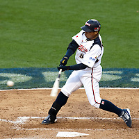 22 March 2009: #8 Akinori Iwamura of Japan hits the ball during the 2009 World Baseball Classic semifinal game at Dodger Stadium in Los Angeles, California, USA. Japan wins 9-4 over Team USA.