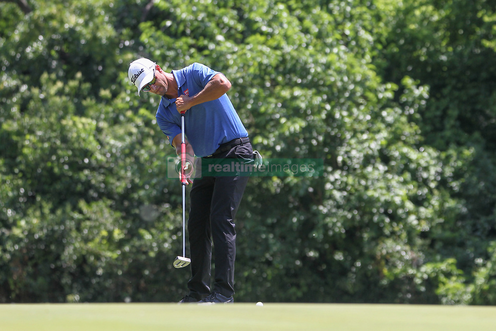May 25, 2018 - Fort Worth, TX, U.S. - FORT WORTH, TX - MAY 25: Adam Scott (AUS) putts on the 8th green during the second round of the Fort Worth Invitational on May 25, 2018 at Colonial Country Club in Fort Worth, TX. (Photo by George Walker/Icon Sportswire) (Credit Image: © George Walker/Icon SMI via ZUMA Press)