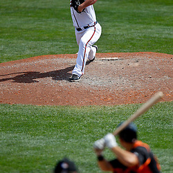 March 18, 2012; Lake Buena Vista, FL, USA; Atlanta Braves relief pitcher Craig Kimbrel (46) against the Baltimore Orioles during a spring training game at Disney Wide World of Sports complex. Mandatory Credit: Derick E. Hingle-US PRESSWIRE