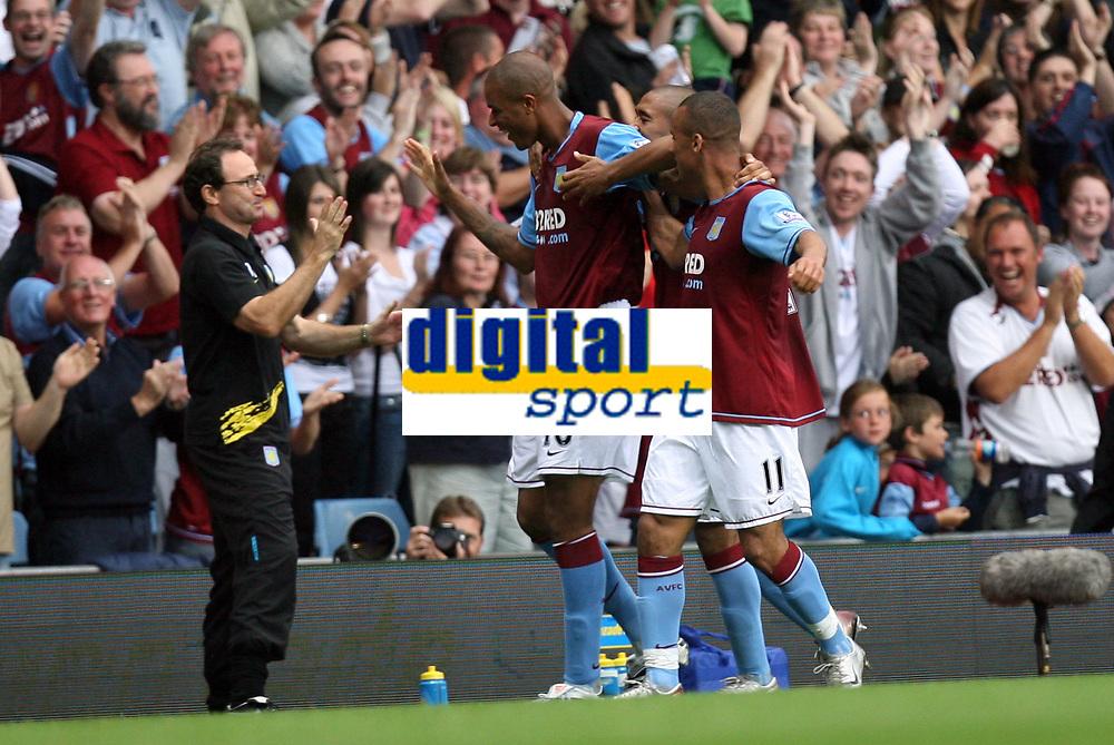 Photo: Rich Eaton.<br /> <br /> Aston Villa v Chelsea. The FA Barclays Premiership. 02/09/2007. Aston Villa's Zak Knight scores on his Villa Park debut to give Villa a 1-0 lead and celebrates with his manager Martin O'Neill.