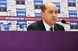 Turgay Demirel, president of FIBA Europe during press conference of Organising committee before basketball match between National Teams of Russia and Spain at Day 18 in 3rd place match of the FIBA EuroBasket 2017 at Sinan Erdem Dome in Istanbul, Turkey on September 17, 2017. Photo by Vid Ponikvar / Sportida