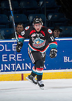 KELOWNA, CANADA - SEPTEMBER 9: Dillon Dube #19 of Kelowna Rockets skates against the Kamloops Blazers on September 9, 2016 at Prospera Place in Kelowna, British Columbia, Canada.  (Photo by Marissa Baecker/Shoot the Breeze)  *** Local Caption *** Dillon Dube;