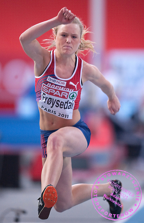 ANNE INGER FROYSEDAL (NORWAY) COMPETES IN WOMEN'S TRIPLE JUMP QUALIFICATION DURING EUROPEAN ATHLETICS INDOOR CHAMPIONSHIPS PARIS 2011 AT BERCY HALL...PARIS , FRANCE , MARCH 04, 2011..( PHOTO BY ADAM NURKIEWICZ / MEDIASPORT )..PICTURE ALSO AVAIBLE IN RAW OR TIFF FORMAT ON SPECIAL REQUEST.