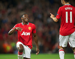 27.09.2011, Old Trafford, London, ENG, UEFA CL, Gruppe C, Manchester United (ENG) vs FC Basel (SUI), im Bild Manchester United's Danny Welbeck celebrates scoring the first goal against FC Basel 1893 with team-mate Ryan Giggs // during the UEFA Champions League game, group C, Manchester United (ENG) vs FC Basel (SUI) at Old Trafford stadium in London, United Kingdom on 2011/09/27. EXPA Pictures © 2011, PhotoCredit: EXPA/ Propaganda Photo/ David Rawcliff +++++ ATTENTION - OUT OF ENGLAND/GBR+++++