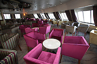 Voyages of Discovery's newly refurbished ship mv Voyager arrives in Portsmouth, UK, ahead of it's naming ceremony on Tuesday..Lookout Lounge