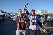 Aston Villa fans outside Villa Park before k/o. The FA cup, 6th round match, Aston Villa v West Bromwich Albion at Villa Park in Birmingham, Midlands on Saturday 7th March 2015<br /> pic by John Patrick Fletcher, Andrew Orchard sports photography.