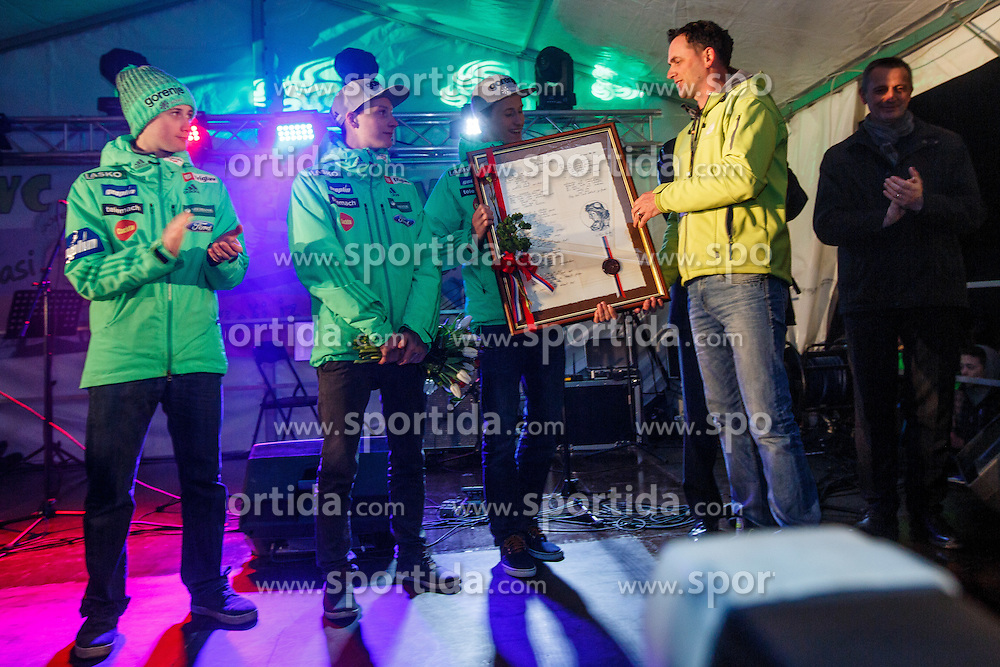 Prevc brothers from left to right, Cene, Domen and Peter overall winner pf crystal globe during reception of Peter Prevc in his home village Dolenja vas, SKofja Loka, Slovenija, on March 23, 2016 in Dolenja vas, Slovenia. Photo by Grega Valancic / Sportida