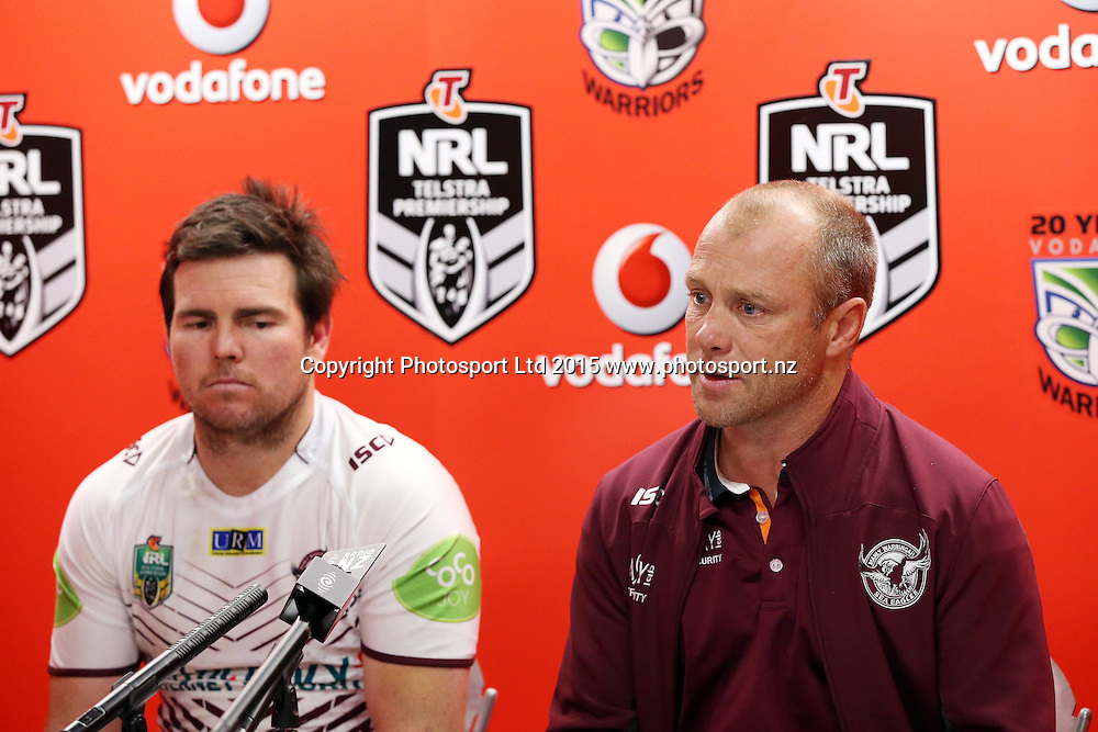 Manly coach Geoff Toovey and captain Jamie Lyon, left talk to media after the NRL Rugby League, Warriors v Sea Eagles at Mt Smart Stadium, Auckland, New Zealand. 25 July 2015. Copyright Photo: Fiona Goodall / www.photosport.nz