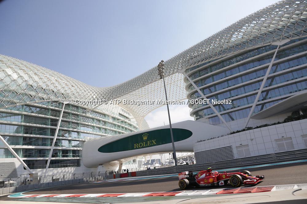 Kimi R&auml;ikk&ouml;nen, (RAIKKONEN), FIN, Team Scuderia Ferrari, Ferrari F14T,<br /> ABU DHABI Grand Prix F1 at the Yas Marina Circuit 2014 -Formel 1 Grand Prix, F1, Formel1, Vereinigte Arabische Emirate, Honorarpflichtiges Foto, Fee liable image, Copyright &copy; ATP GODET Nicolaz