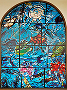 The Tribe of Reuben. The Twelve Tribes of Israel depicted in stained glass By Marc Chagall (1887 - 1985). The Twelve Tribes are Reuben, Simeon, Levi, Judah, Issachar, Zebulun, Dan, Gad, Naphtali, Asher, Joseph, and Benjamin.