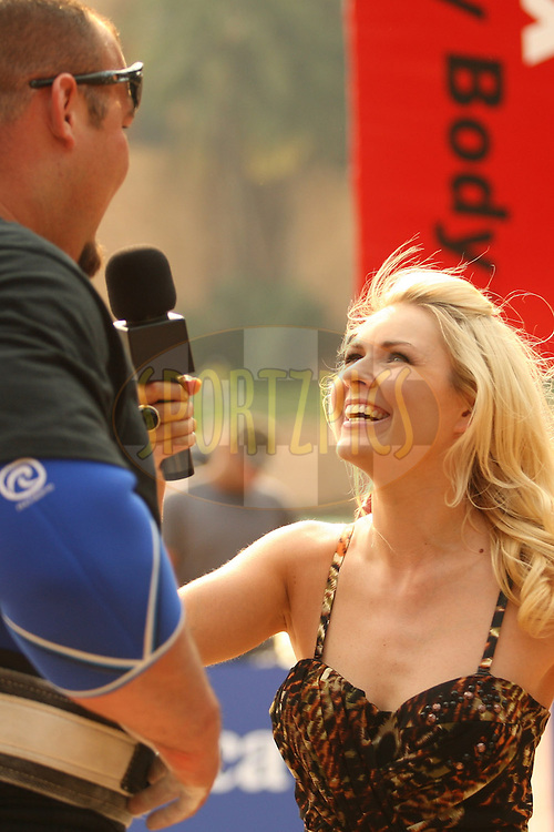 TV Presenter Zoe Salmon (Bravo, UK) interviews Brian Shaw (USA) at the World's Strongest Man competition held in Sun City, South Africa.