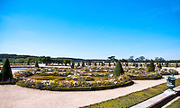 Palace of Versailles. Flower beds in the gardens.
