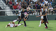 Olympique Lyonnais forward Eugenie Le Sommer (9) falls while making a pass in the final game against the North Carolina Courage during an International Champions Cup women's soccer game, Sunday, Aug. 18, 2019, in Cary, Olympique Lyonnais bested the North Carolina Courage 1-0 in the finals.  (Brian Villanueva/Image of Sport)