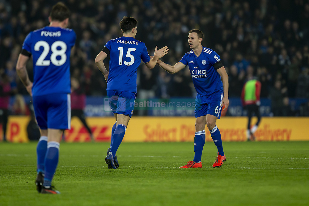 February 23, 2019 - Leicester, England, United Kingdom - Harry Maguire of Leicester City celebrates with goalscorer Jonny Evans of Leicester City during the Premier League match between Leicester City and Crystal Palace at the King Power Stadium, Leicester on Saturday 23rd February 2019. (Credit Image: © Mi News/NurPhoto via ZUMA Press)