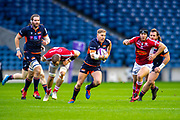 Jaco van der Walt (#10) of Edinburgh Rugby runs at the Agen defence during the European Rugby Challenge Cup match between Edinburgh Rugby and SU Agen at BT Murrayfield, Edinburgh, Scotland on 18 January 2020.
