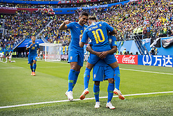 June 22, 2018 - Sankt Petersburg, Russia - 180622 Neymar of Brazil celebrates with his teammates after scoring 2-0 the FIFA World Cup group stage match between Brazil and Costa Rica on June 22, 2018 in Sankt Petersburg..Photo: Petter Arvidson / BILDBYRÃ…N / kod PA / 92075 (Credit Image: © Petter Arvidson/Bildbyran via ZUMA Press)