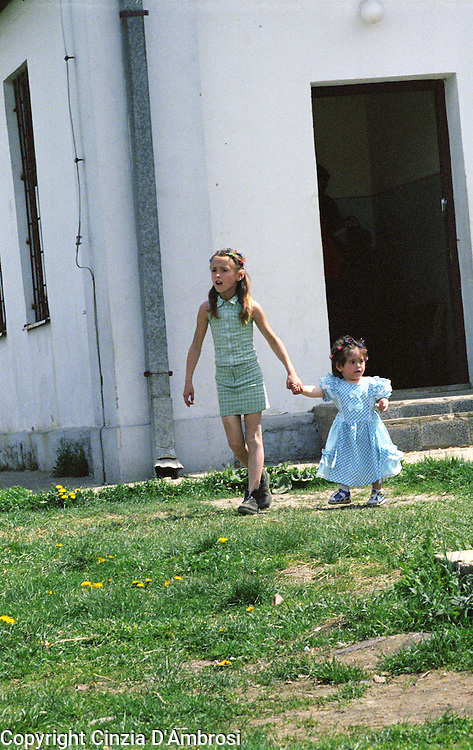 Kids coming out of a school after activities organised by a ngo. Serbian enclave in Kosovo.