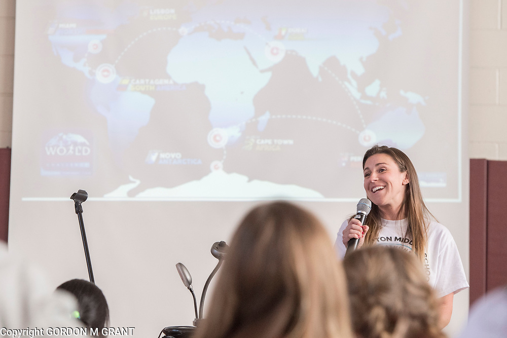 Cara Nelson, a 7th grade social studies teacher at the East Hampton Middle School, speaks during a sendoff in her honor, at the school in East Hampton, Jan. 18, 2018. Nelson will leave next week to participate in a trip where she will run seven marathons in seven days on seven continents.