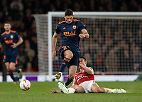Football - 2018 / 2019 UEFA Europa League - Semi-Final, First Leg: Arsenal vs. Valencia CF<br /> <br /> Laurent Koscielny (Arsenal FC) times his tackle to prevent the breakaway at The Emirates.<br /> <br /> COLORSPORT/DANIEL BEARHAM