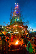 Sri Lanka. Lighting on temporary Gopuram. Mamangeshwarar Temple festival. Batticaloa