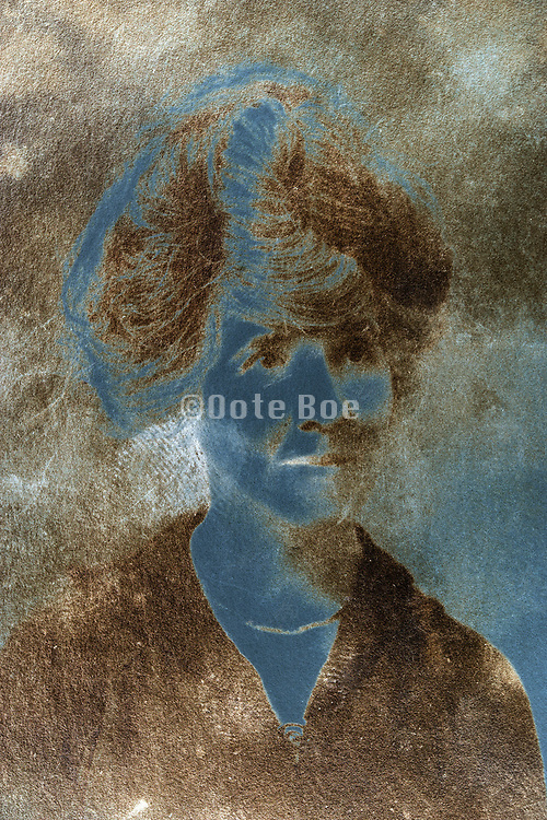 emulsion oxidizing photo portrait of a adult woman