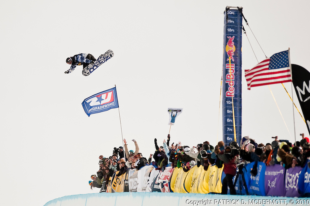 Shaun White of the United States competes in the US Snowboarding Grand Prix Super Pipe Finals in Mammoth Lakes, Calif., Saturday, Jan. 9, 2010. White qualified for the 2010 US Olympic Snowboarding Team after his victories in the first and third US Snowboarding Grand Prix events.