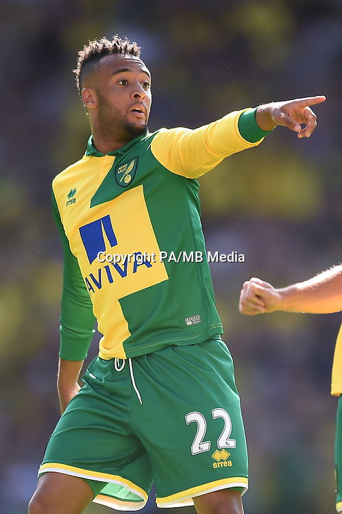 "Norwich City's Nathan Redmond during the Barclays Premier League match at Carrow Road, Norwich. PRESS ASSOCIATION Photo. Picture date: Saturday August 8, 2015. See PA story SOCCER Norwich. Photo credit should read: Adam Davy/PA Wire. EDITORIAL USE ONLY No use with unauthorised audio, video, data, fixture lists, club/league logos or ""live"" services. Online in-match use limited to 45 images, no video emulation. No use in betting, games or single club/league/player publications."