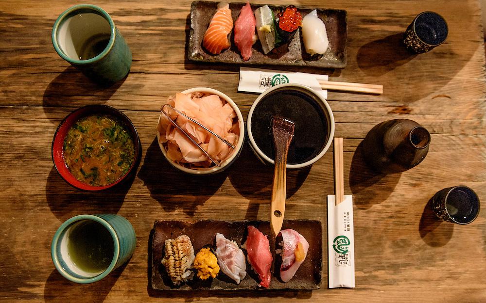 Sushi at Endo Sushi, a popular sushi restaurant located at Osaka Municipal Central Wholesale Market, Osaka, Japan.