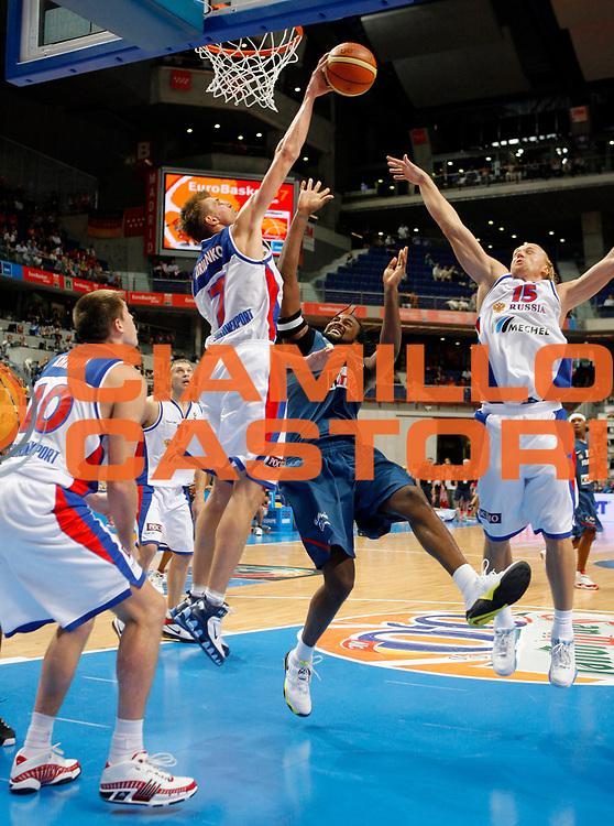 DESCRIZIONE : Madrid Spagna Spain Eurobasket Men 2007 Quarter Final Quarti di Finale Russia France Russia Francia <br /> GIOCATORE : Andrei Kirilenko<br /> SQUADRA : Russia Russia<br /> EVENTO : Eurobasket Men 2007 Campionati Europei Uomini 2007 <br /> GARA : Russia France Russia Francia <br /> DATA : 13/09/2007 <br /> CATEGORIA : Stoppata<br /> SPORT : Pallacanestro <br /> AUTORE : Ciamillo&amp;Castoria/T.Wiedensohler<br /> Galleria : Eurobasket Men 2007 <br /> Fotonotizia : Madrid Spagna Spain Eurobasket Men 2007 Quarter Final Quarti di Finale Russia France Russia Francia <br /> Predefinita :