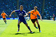 Joe Ralls (8) of Cardiff City battles for possession with Dave Edwards (16) of Reading during the EFL Sky Bet Championship match between Cardiff City and Reading at the Cardiff City Stadium, Cardiff, Wales on 6 May 2018. Picture by Graham Hunt.
