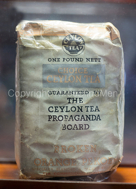 First packaged tea from Sri Lanka. 1944<br /> at the Ceylon Tea Museum<br /> credit to Tea Museum collection