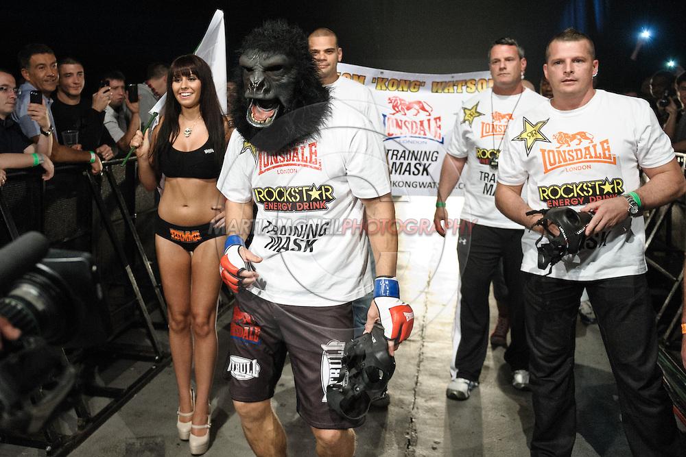 "LONDON, ENGLAND, MAY 21, 2011: Mixed martial arts action during ""BAMMA 6: Watson vs. Rua"" inside Wembley Arena in London, England on May 21, 2011."