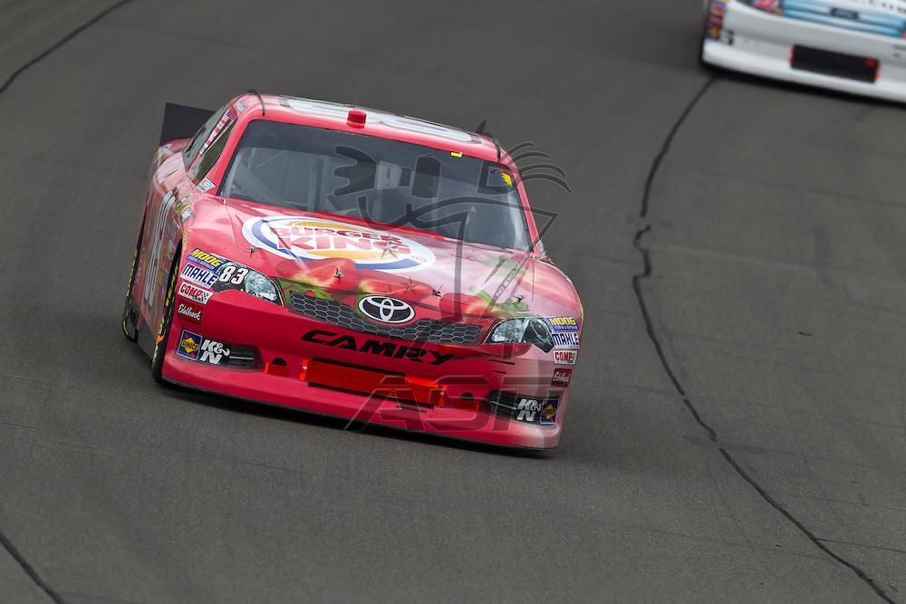KANSAS CITY, KS - APR 22, 2012:  Landon Cassill (83) races during the STP 400 at the Kansas Speedway in Kansas City, KS.
