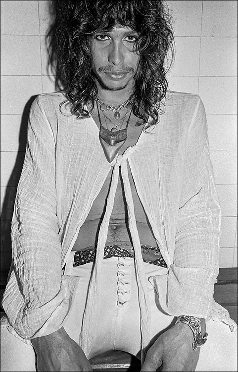 Steven Tyler backstage before performing with Aerosmith at the Honolulu International Center Arena in 1975.  The Honolulu International Center (HIC) has now been re-named the Neil S. Blaisdell Arena..©PF Bentley/PFPIX.com