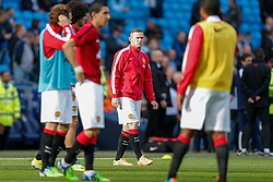Wayne Rooney of Manchester United looks on during the warm up - Photo mandatory by-line: Rogan Thomson/JMP - 07966 386802 - 02/11/2014 - SPORT - FOOTBALL - Manchester, England - Etihad Stadium - Manchester City v Manchester United - Barclays Premier League.