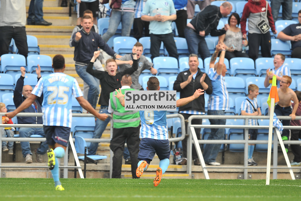 Coventrys Adam Armstrong Celebrates His Goal, Coventry City v Chesterfield, Football League One, Ricoh Arena Coventry Saturday 19th September 2015