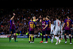 May 1, 2019 - Barcelona, BARCELONA, Spain - The referee Bjorn Kuipers arguing with FC Barcelona players during the UEFA Champions League first leg match of Semi final between FC Barcelona and Liverpool FC in Camp Nou Stadium in Barcelona 01 of May of 2019, Spain. (Credit Image: © AFP7 via ZUMA Wire)