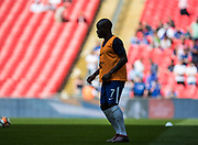 Chelsea (7) N'Golo Kanté during the warm up at The FA Cup match between Chelsea and Southampton at Wembley Stadium, London, England on 22 April 2018. Picture by Sebastian Frej.