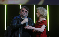April 15, 2018 - 15 APRIL 2018 (MALAGA,SPAIN,ANDALUCIA ) The Mexican director Guillermo del Toro has been awarded at the 21st edition of the Malaga Festival. Cinema in Spanish with the Malaga-SUR Award, which was presented this Saturday at the Teatro Cervantes by the actress Marisa Paredes and the actor Ron Perlman (Credit Image: © Lorenzo Carnero via ZUMA Wire)