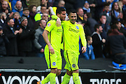 Brighton striker Tomer Hemed celebrates with Brighton central midfielder Beram Kayal after making it 2-0 during the Sky Bet Championship match between Milton Keynes Dons and Brighton and Hove Albion at stadium:mk, Milton Keynes, England on 19 March 2016. Photo by Bennett Dean.during the Sky Bet Championship match between Milton Keynes Dons and Brighton and Hove Albion at stadium:mk, Milton Keynes, England on 19 March 2016. Photo by Bennett Dean.