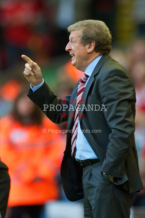 LIVERPOOL, ENGLAND - Thursday, August 5, 2010: Liverpool's manager Roy Hodgson against FK Rabotnicki during the UEFA Europa League 3rd Qualifying Round 2nd Leg match at Anfield. (Pic by: David Rawcliffe/Propaganda)