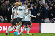 Max Lowe celebtares with his team mates celebrate after scoring during the EFL Sky Bet Championship match between Derby County and Hull City at the Pride Park, Derby, England on 18 January 2020.