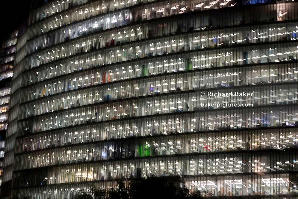 Deliberate blur and zoom on generic office buildings, on 29th October 2018, in London, England.